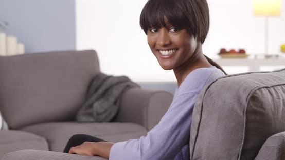 Thumbnail for Cute black woman with bangs looking at camera