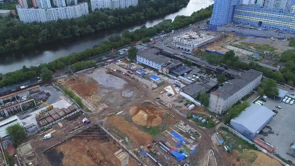 Thumbnail for Construction Site on the River Bank, Top View.