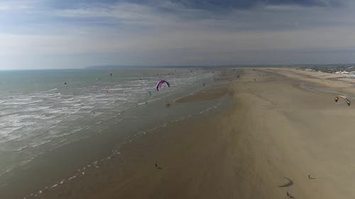 Kitesurfing Groups on a Beach From Above