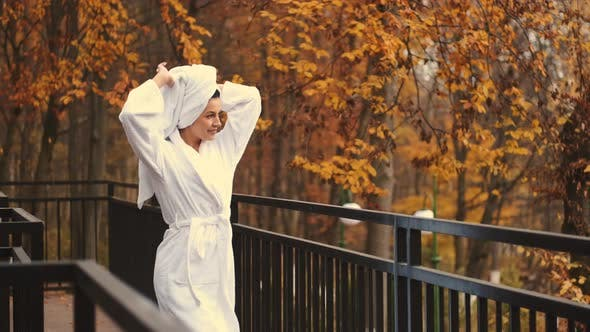 Woman Bathrobe Walking Terrace Beautiful View Forest Modern Hotel Room
