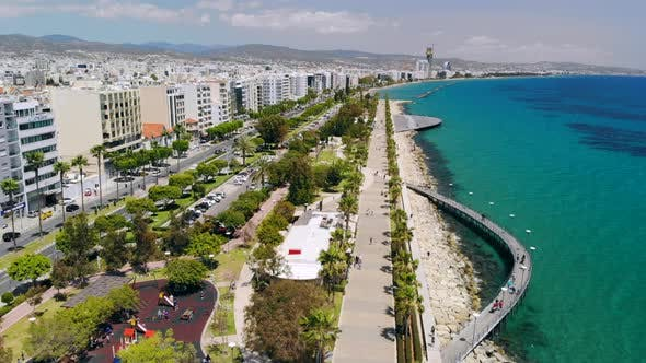 Cover Image for Limassol City Embankment on Sunny Day, Aerial View