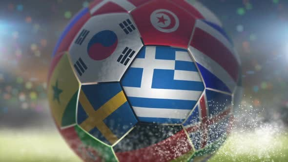 Thumbnail for Greece Flag on a Soccer Ball - Football in Stadium