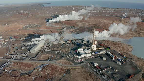 Thumbnail for A Bird's-eye View of a Plant Producing Clean Energy Using Geothermal Sources, Iceland, Winter