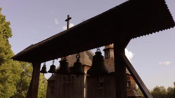 Bells of an Old Rural Wooden Church.
