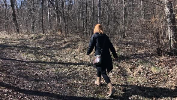 Thumbnail for Slow motion of modern woman  leading through forest 1920X1080 HD footage - Female in the nature walk