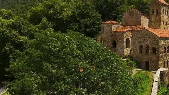 Thumbnail for Tourists Walking Through Ancient Ruins of Georgia, Green Mountains, Tourism