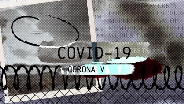 Words Covid-19 Corona Virus written over scraps of paper and blurred text with coronavirus pandemic