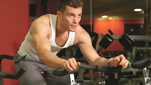 Sporty Man Doing Spinning Exercises