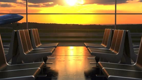 Cover Image for Airplane Departure Against Scenic Sunset Seen Through Departure Lounge Windows