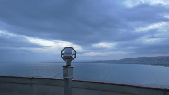 A binocular in an observation point