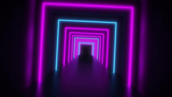 Abstract Neon Background Flight Forward Through Corridor