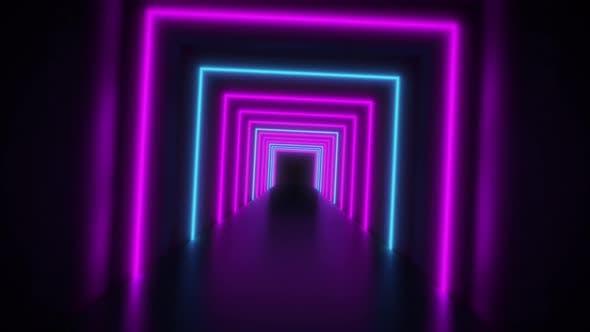 Thumbnail for Abstract Neon Background Flight Forward Through Corridor
