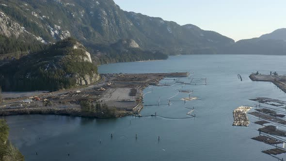 Thumbnail for Aerial View Birds Flying Squamish Canada Mountainous Waterfront Logging Forestry Marina