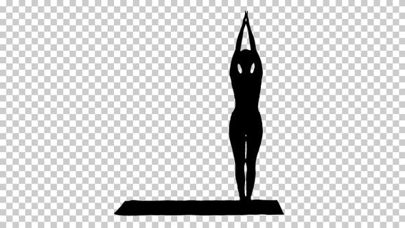 Thumbnail for Silhouette Sporty young woman doing yoga practice, Alpha Channel