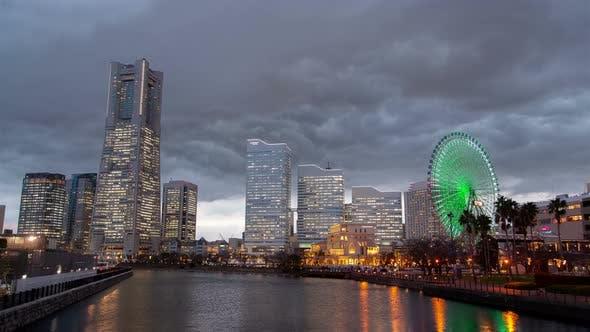 Thumbnail for Illuminated Yokohama Skyscrapers at Dusk Timelapse