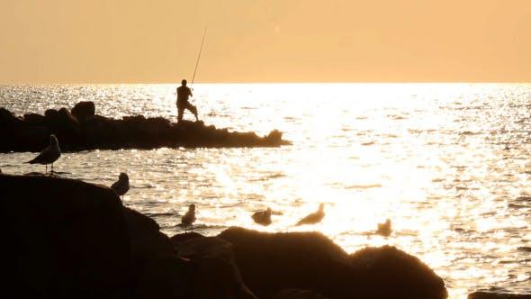 Fisher an der Küste