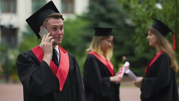 Thumbnail for Happy Male Graduate Receiving Prestigious Job Offer, Telephone Conservation