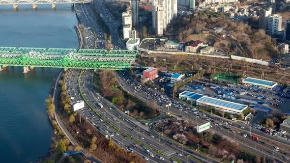 Timelapse Seoul Parallel Highways and Railway Bridge