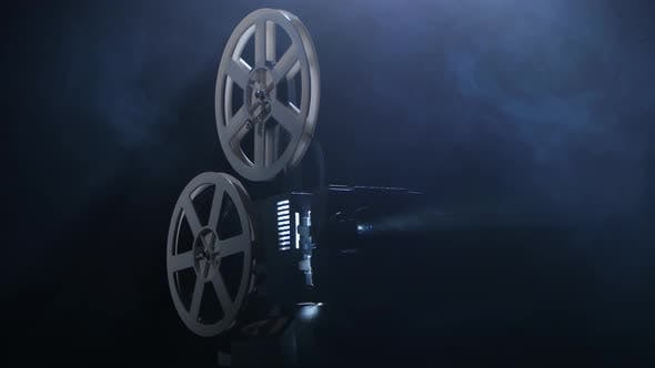 Projectionist Includes Projector. Dark Background Studio in Smoke