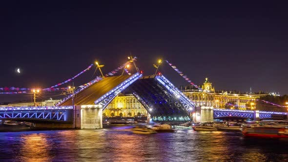 Cover Image for Drawn Palace Bridge in St. Petersburg at Night