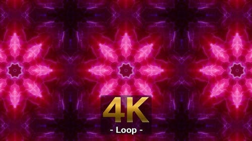 Purple And Crimson Glowing Kaleidoscope 4K 02