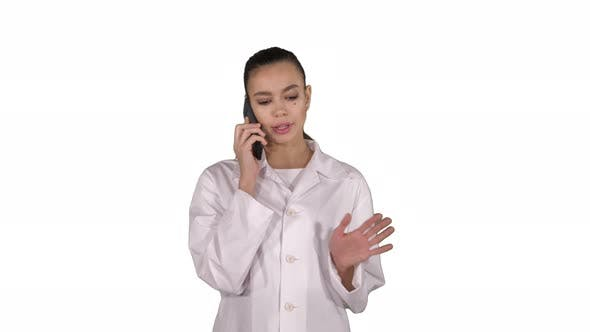 Thumbnail for Confident Female Doctor, Healthcare Professional Talking on Phone with Patient on White Background.