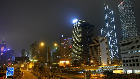 Cover Image for Time Lapse of Hong Kong Night City Scape