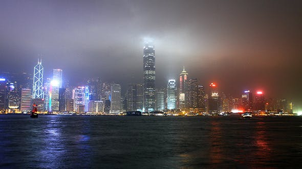 Thumbnail for Night Panorama of Hong Kong Harbour in Time Lapse