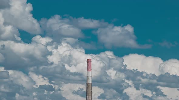 Thumbnail for High Chimney Pipe Power Plant at Background with Cloudy Sky