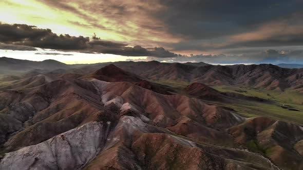 Colorful Treeless Hills at Magnificent Sunset