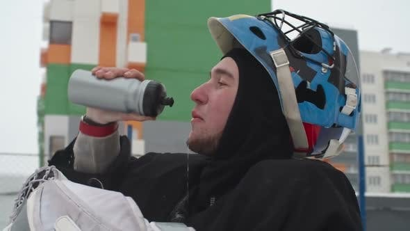 Cover Image for Tired Ice Hockey Player after Drill