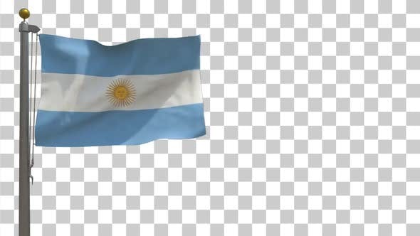 Thumbnail for Argentina Flag on Flagpole with Alpha Channel - 4K