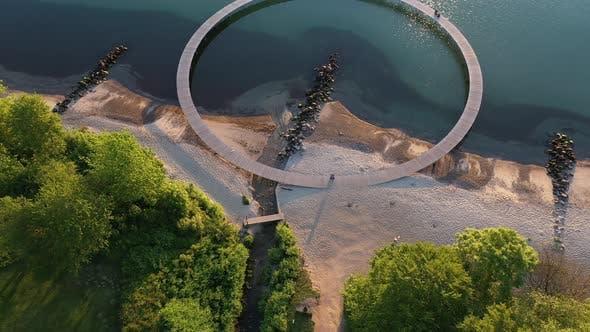 Aerial Shot of the Famous Infinite Bridge in Aarhus Denmark