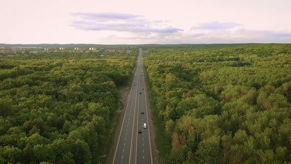 Thumbnail for Top View of the Motorway. View From the Quadcopter on the Highway. Samara, Russia