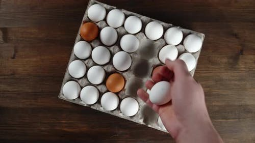 The Men's Hand Lays Raw Eggs on a Paper Stand.