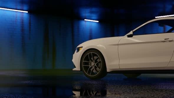Luxury White Sports Car Drifting in Parking Garage