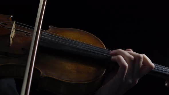 Thumbnail for Women Play Strings of a Violin in a Dark Room. Black Background. Close Up
