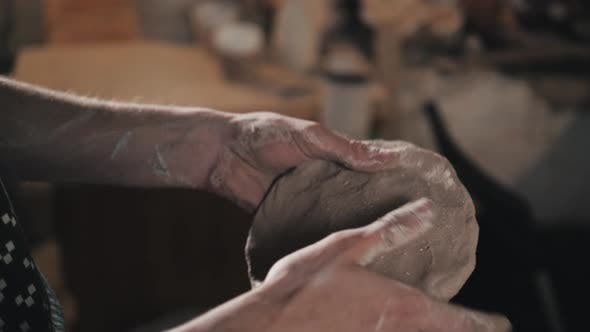 Pottery Craftsmanship Potter Craftsman Hands Working Red Clay Close Up Factory
