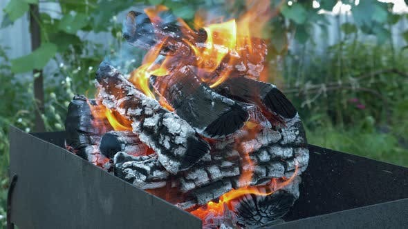 Firewood burning on barbecue grill. Burning logs. Firewood and coals burning on BBQ grill