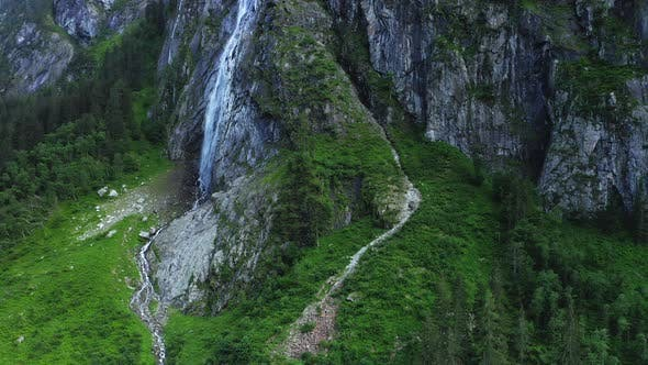 Thumbnail for Austria, Tyrol. Aerial View of Impressive Rocks and Mountain Waterfall. Stillup Lake,