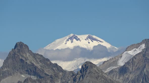 View mountains scenes in national park Dombai, Caucasus