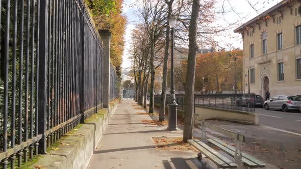 Thumbnail for Paris View in Autumn. Walking Along the Quiet Street