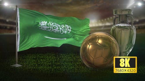 8K Saudi Arabia Flag with Football And Cup Background Loop