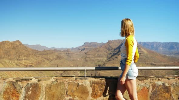 Fit Blonde Model Looking Over the Beautiful Gran Canaria Valley