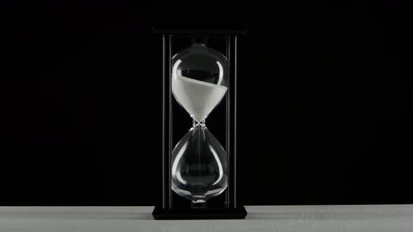 Thumbnail for Isolated Hourglass. Hourglass with White Sand. Black