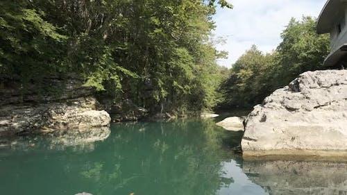 Rafting on Martvili canyon in summertime, Georgia