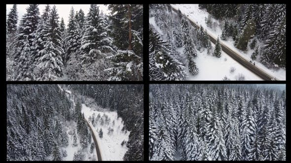 Thumbnail for Aerial Of Frozen Winter Landscape In Mountain Forest  - 4 Pack