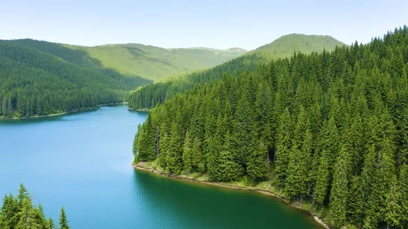 Aerial view of blue lake and green forests, Fresh water, Lake Baikal, Green Forest