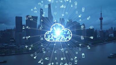 Cloud computing concept. Smart city. Communication network