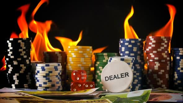 Thumbnail for Gambling Chips Dices Poker Cards And Fire 7